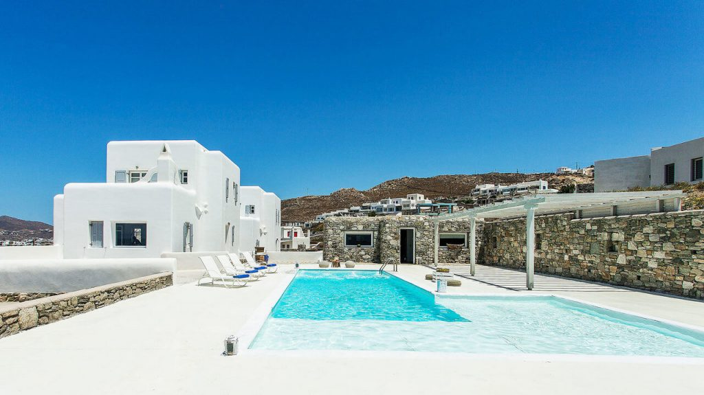 Villa Addison Pouli Mykonos outdoors and pool with the panoramic view 2