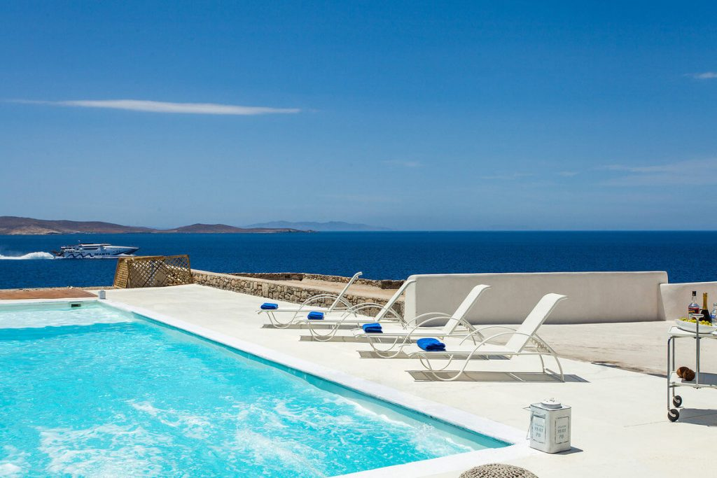 Villa Addison Pouli Mykonos outdoors and pool with the panoramic view 1