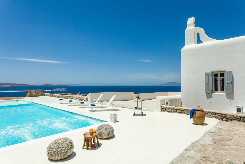 Villa Addison Pouli Mykonos outdoors and pool with the panoramic view