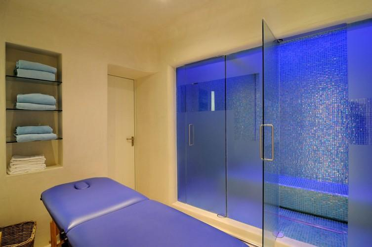 giant sauna with a lot of room in it for all villa quests to sweat out and get unstressed