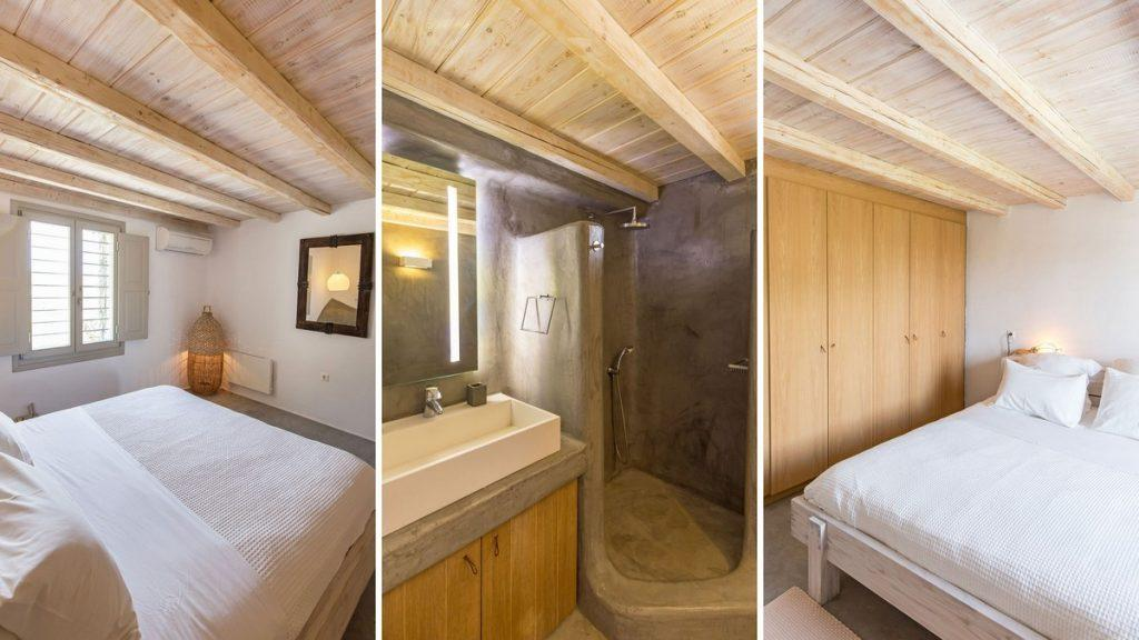 bedroom with huge comfort bed and wooden cabin