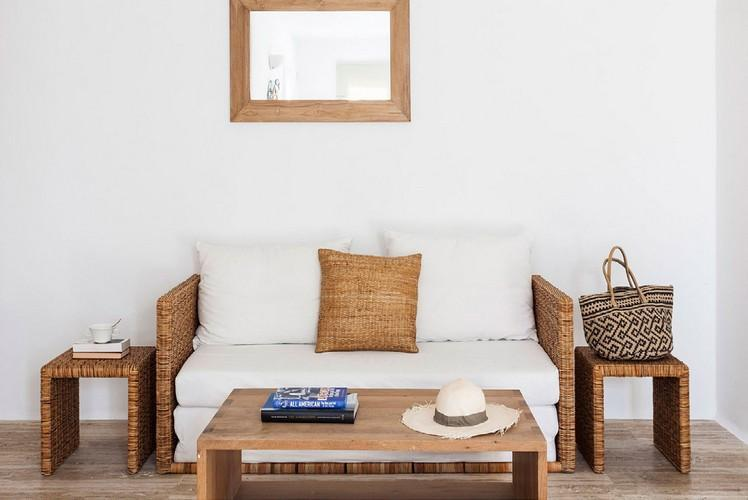 living area with white soft couch