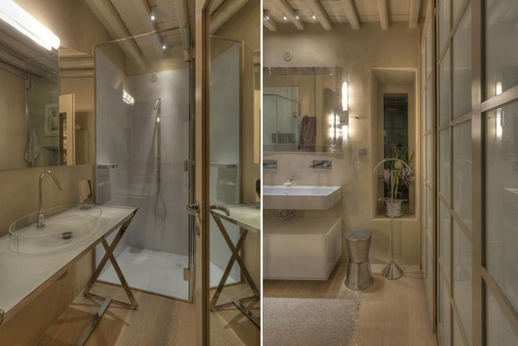 modern bathroom with glass shower and sink