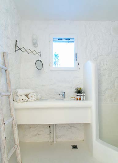 bathroom with ceramic washstand and ladders