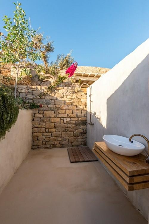 Villa_Ales_05.jpg Fanari Mykonos Outdoor Bathroom, washstand, shower, sky, tree