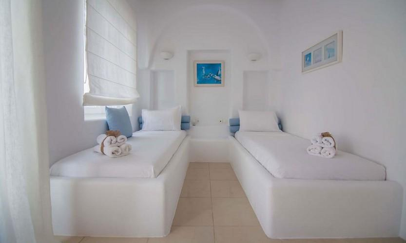 Villa_Star1_20.jpg Kanalia Mykonos 5th Bedroom, bed, pillows, paint, curtains