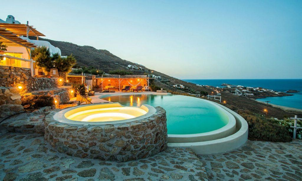 Villa Bob Agios Sostis Mykonos, outdoor, pool, jacuzzi, lights, sky, sea