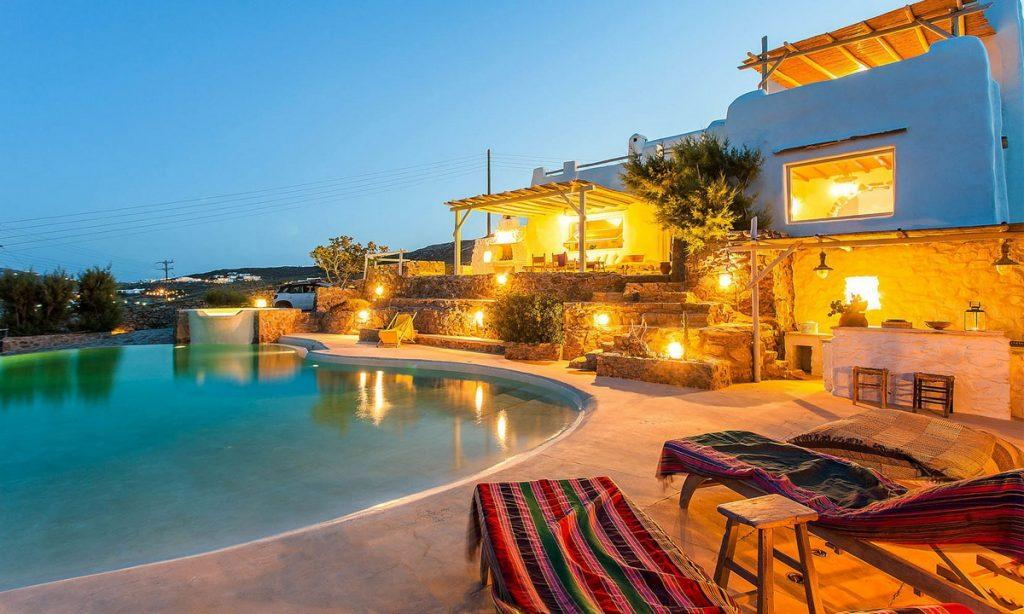 Villa Bob Agios Sostis Mykonos, outdoor, pool, climbers, lights, table