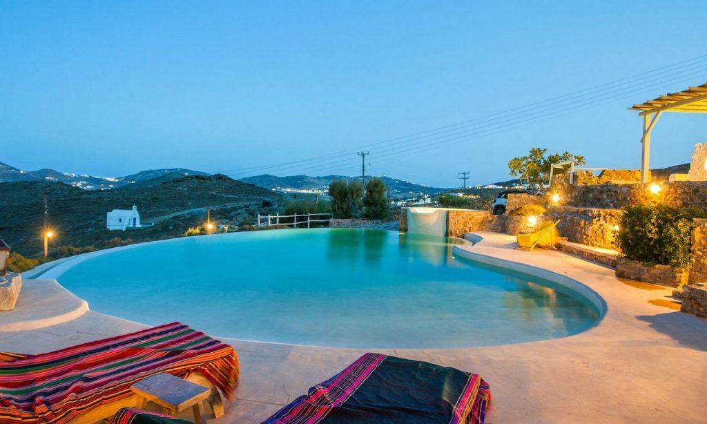 Villa Bob Agios Sostis Mykonos, outdoor, pool, climbers, lights