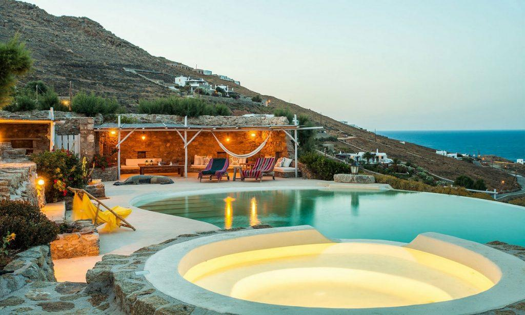 Villa Bob Agios Sostis Mykonos, outdoor, jacuzzi, pool, lights, climbers, sun bed, sea