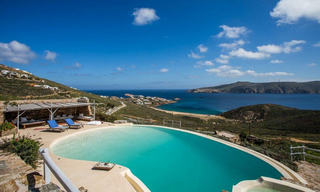 Villa Bob Agios Sostis Mykonos, outdoor, pool, climbers, sea, sky, clouds