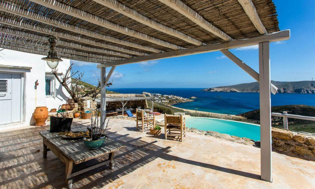Villa Bob Agios Sostis Mykonos, outdoor, table, pool, sea, sky, clouds