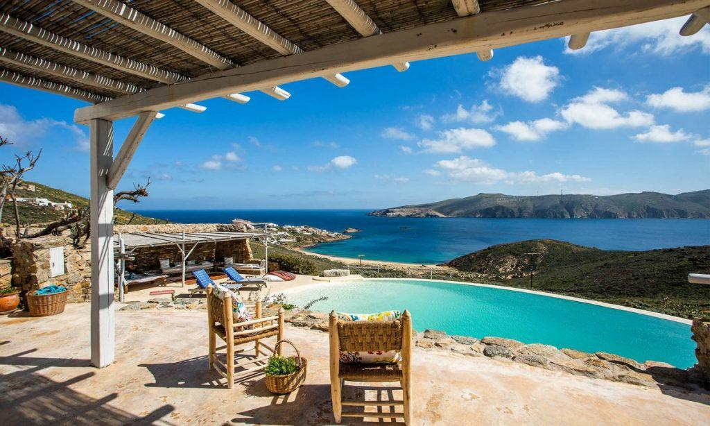 Villa Bob Agios Sostis Mykonos, outdoor, pool, sea, sky, clouds, chairs