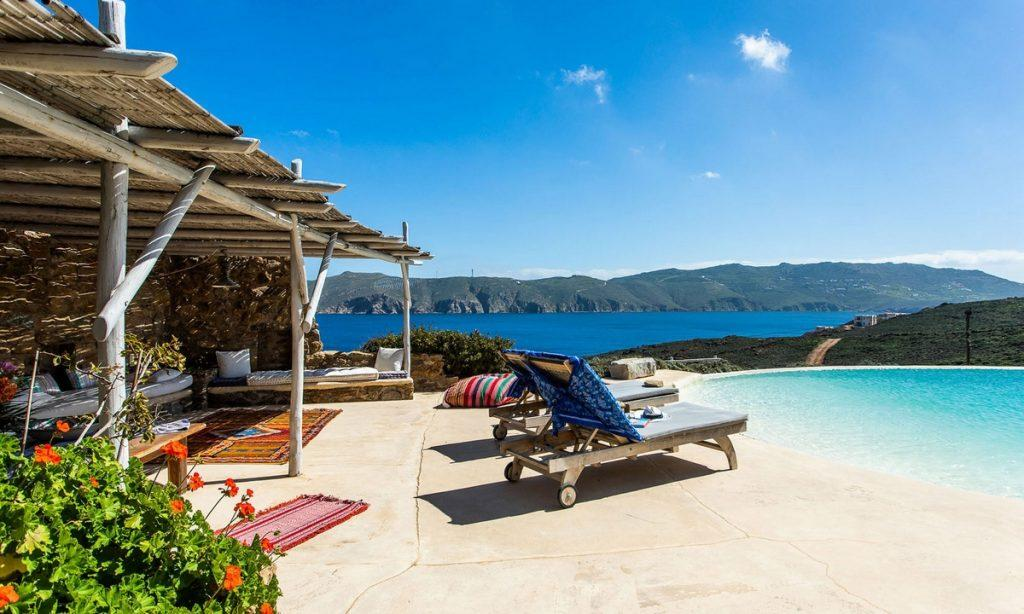 Villa Bob Agios Sostis Mykonos, outdoor, pool, sea, climbers, carpet, clouds, sky