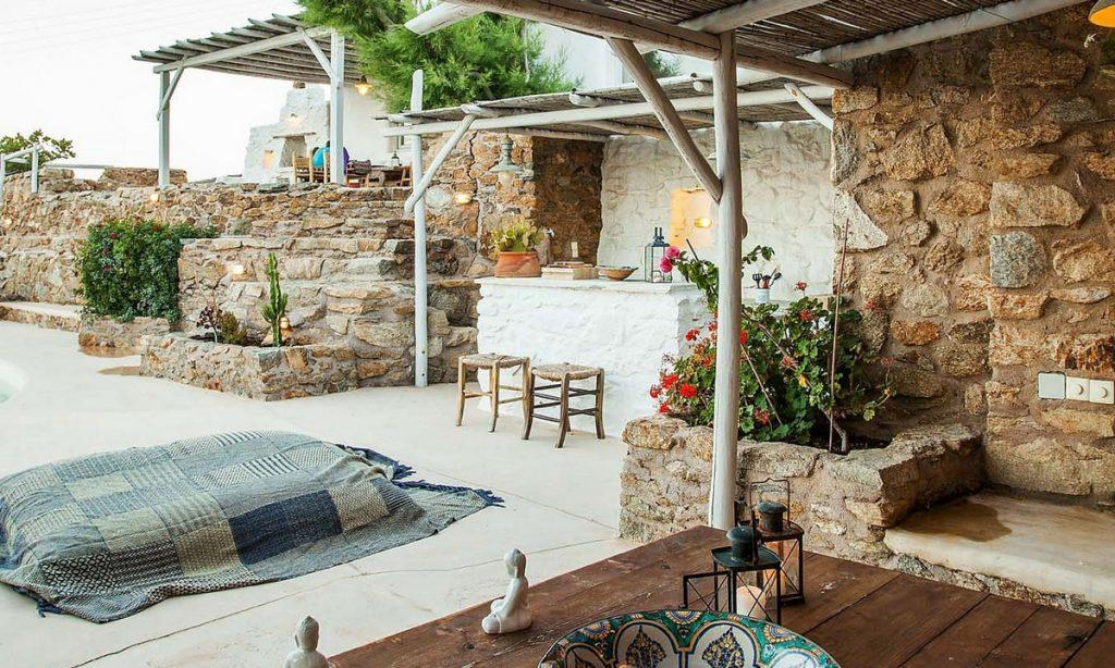 Villa Bob Agios Sostis Mykonos, outdoor, table, bowl, candles, sun bed, bar, chairs