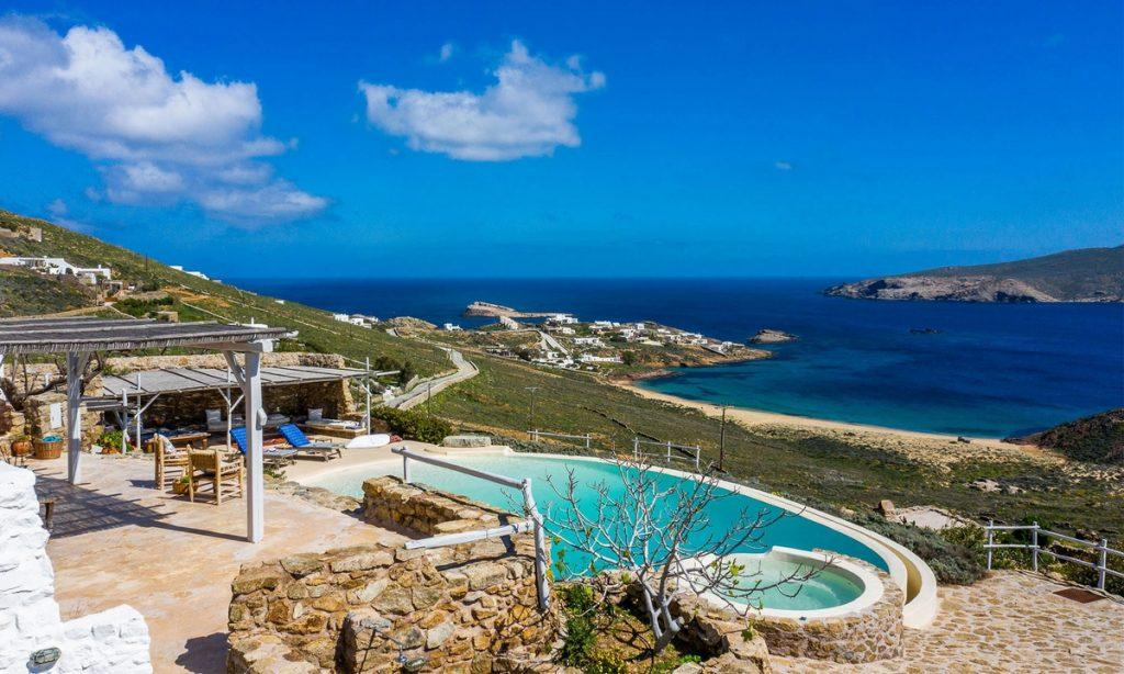 Villa Bob Agios Sostis Mykonos, outdoor, pool, sea, sky, clouds, climbers