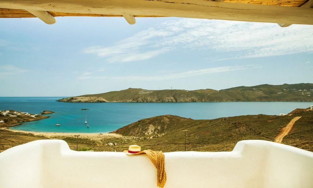 Villa Bob Agios Sostis Mykonos, outdoor, terrace, hat, scarf, sea view, boats, sky