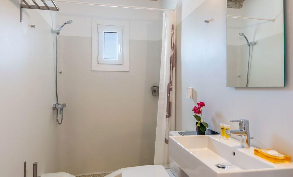 simple bathroom with shower and small window for daylight