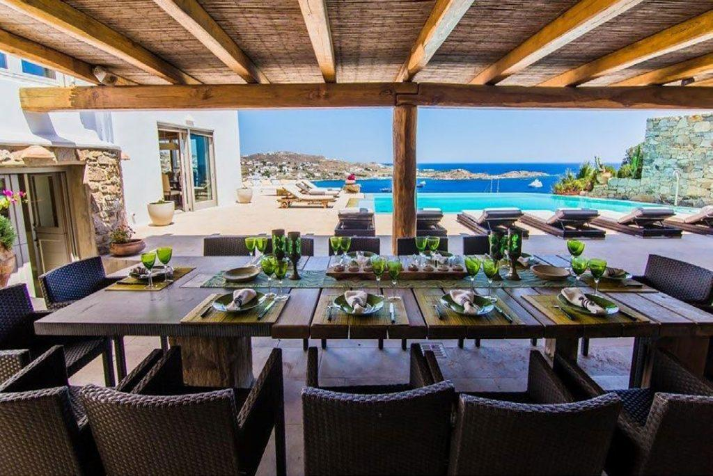 Villa Felicia Agios Lazaros Mykonos, outdoor, dining table, chairs, plates, glasses, forks, knives