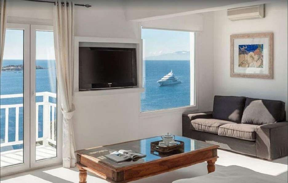 living area with terrace and view on a yacht and sea