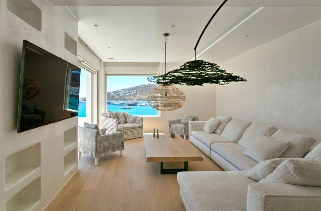modern designed living area with beautiful sea view