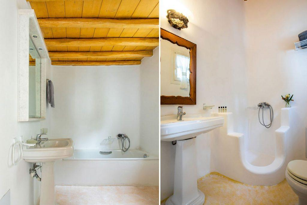 two types of bathrooms with white walls and ceramic sink