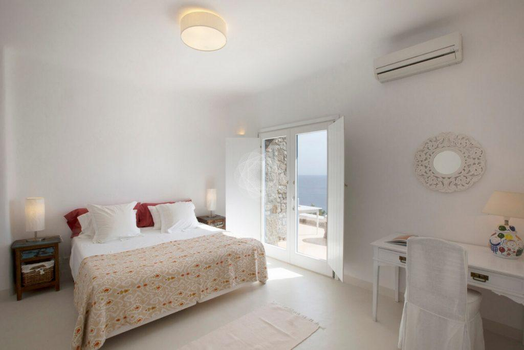 Villa Cleo, Lia, Mykonos, Master bed, Pillow, Sea view, Window, A/C, Chairs
