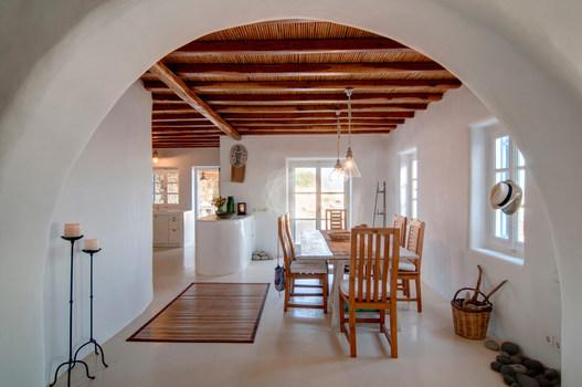 Villa Denys, Agios Stefanos, Mykonos, Chairs, Table, Candels, Windows, Hat, White wall, Doors