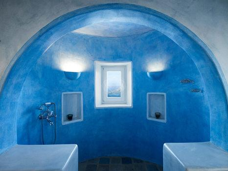 Villa Elie, Agios Lazaros, Mykonos, Shower, Bathroom, Window, Lamp, Blue walls