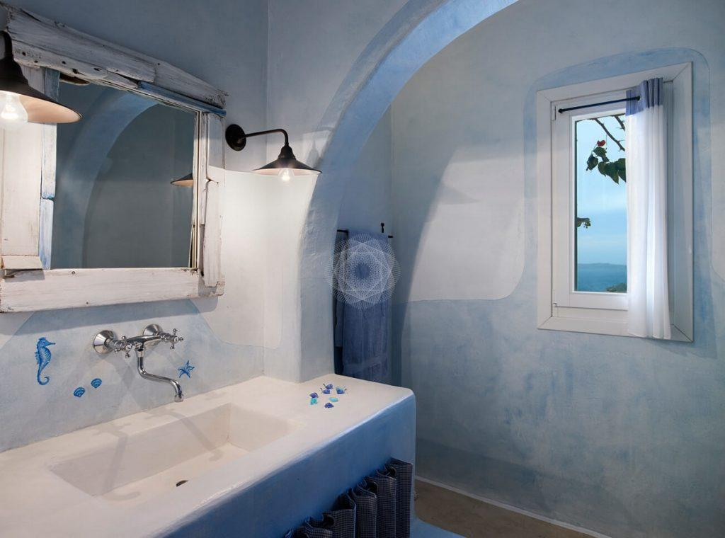 Villa Elie, Agios Lazaros, Mykonos, Mirror, Shower, Window, Bathroom, Sink, Sea view, Sky