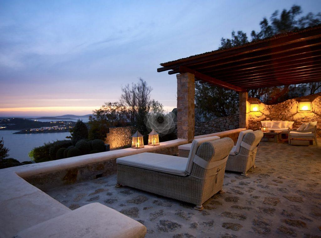 Villa Elie, Agios Lazaros, Mykonos, Sunbeds, Lamps, Balcony, Sea view, Sky, Sunset, Sea, Trees, Stone wall, Stone floor