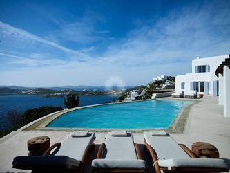 Villa Elie, Agios Lazaros, Mykonos, Pool, Sky, Cloud, Sea view, Sunbeds, Outdoor view