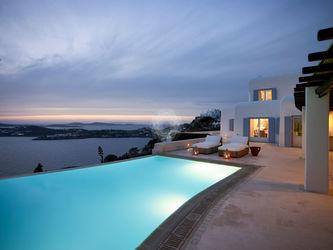 Villa Elie, Agios Lazaros, Mykonos, Pool, Lights, Sunset, Clouds, Sky, Sea view, Sunbeds, White Villa, Windows, Balcony
