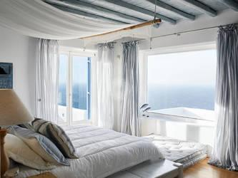 Villa Elie, Agios Lazaros, Mykonos, Bed, Pillow, Sea view, Window, Sky, Wooden floor