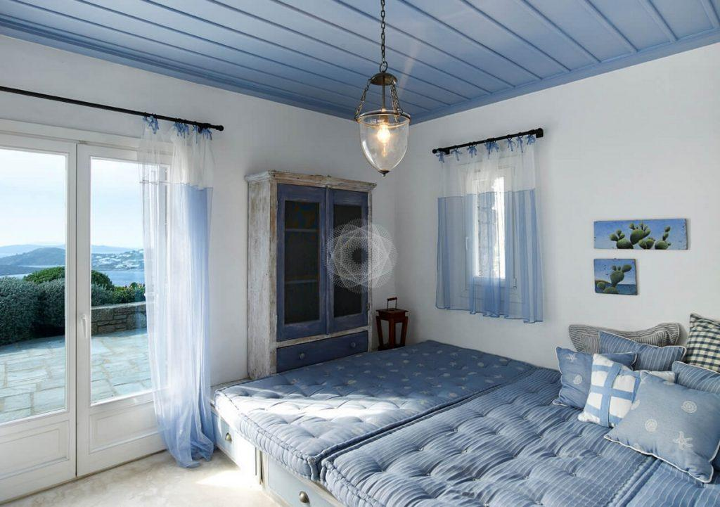 Villa Elie, Agios Lazaros, Mykonos, Sea view, Bad, Closet,Pillows, Windows, Door, Sky, Outdoor, Plants