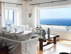 Villa Elie, Agios Lazaros, Mykonos, Sky, Sea view, Pillow, Sofa, Table, Windows