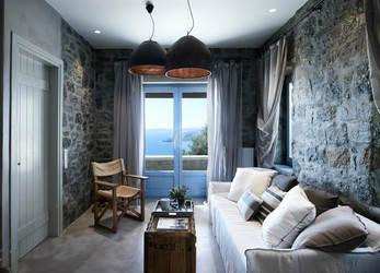 Villa Elie, Agios Lazaros, Mykonos, Sea view, Window, Stone wall, Table, Lamp, Wooden floor