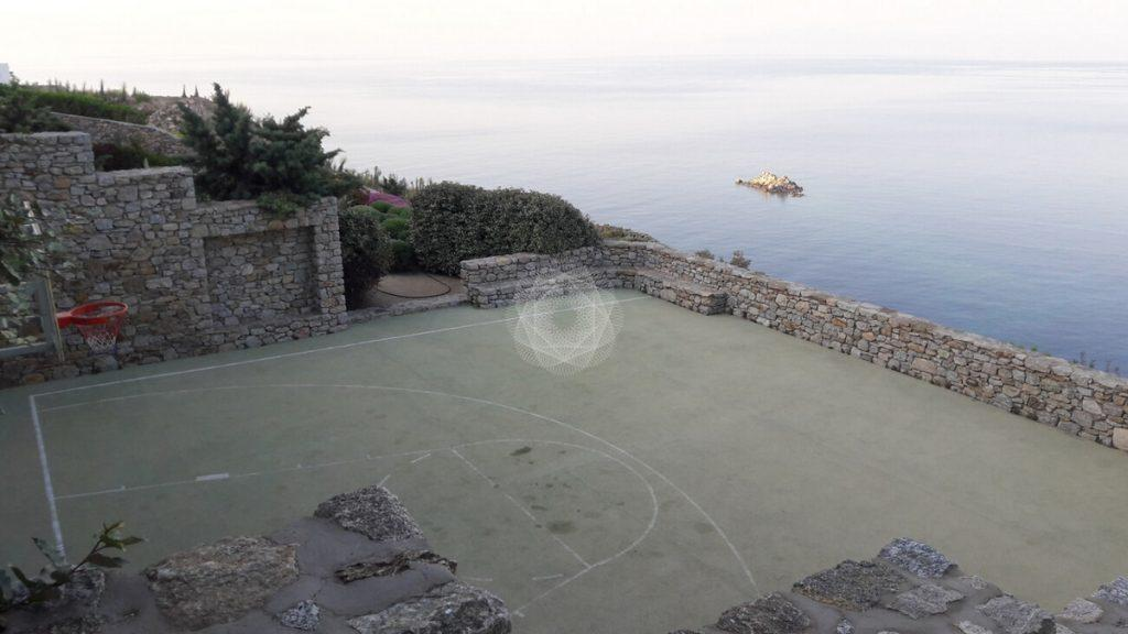 Villa Elie, Agios Lazaros, Mykonos, Basketball court, Basketball, Sea, Sea view, Stone wall, Stone, Plants, Trees, Sky