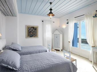 Villa Elie, Agios Lazaros, Mykonos, Beds, Chairs, Sea view, Lamp, Closet, Picuters