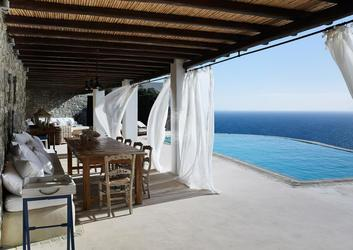 Villa Elie, Agios Lazaros, Mykonos, Pool, Sea, Sky, Chairs, Table, Balcony
