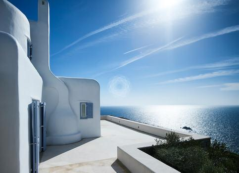 Villa Elie, Agios Lazaros, Mykonos, White Villa, Windows, Sea view, Sky, Cloud, Plants, Trees, Sun