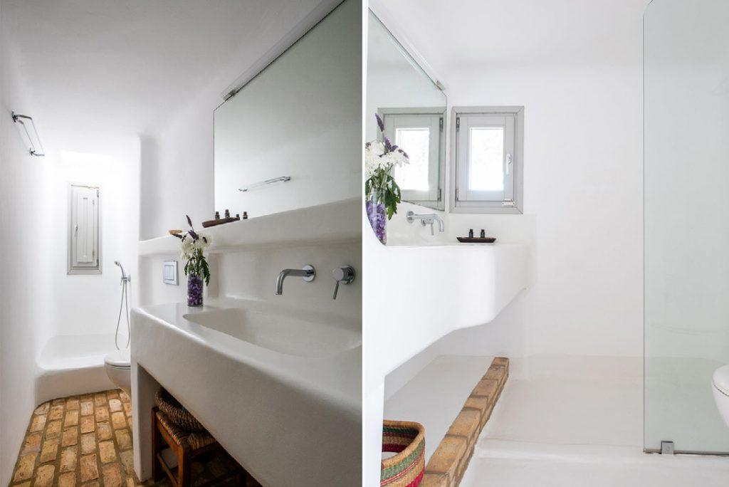 modern design bathroom with beautiful shower cabin and ceramic sink