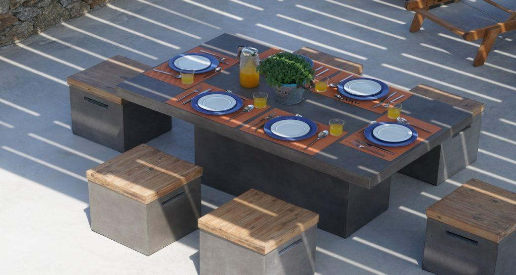 Villa-Futura_10.jpg Pirgi Mykonos Outdoor Dining area, table, chairs, plate, spoon, juice