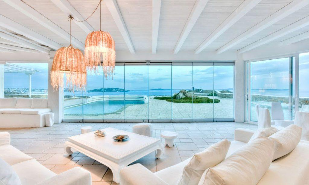 living area with glass doors and beautiful outdoor view
