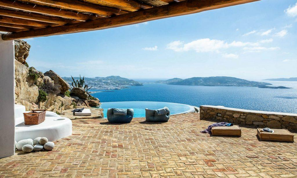 Villa-Greta_31.jpg Tourlos Mykonos Outdoor, climbers, towels, rock, pool, hill, sea, sky
