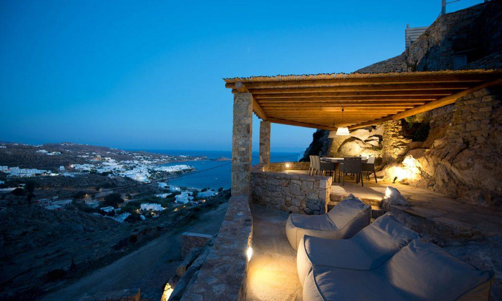 Villa Icarus I, Psarrou, Mykonos, Lazy bag, Stone wall, Sea view, Balcony, Stairs