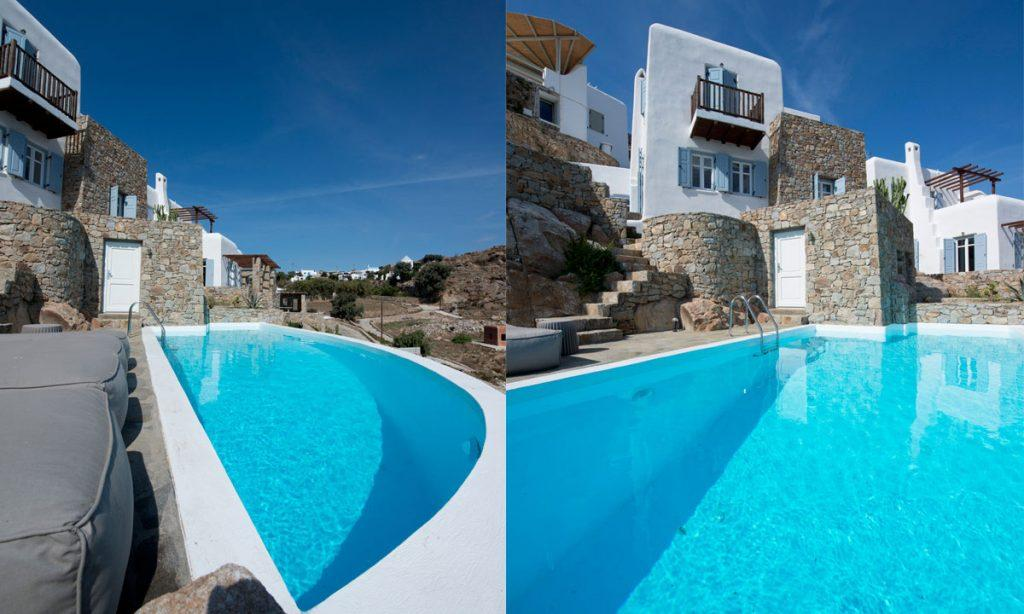 Villa Icarus I, Psarrou, Mykonos Pool, Lazy bag, Stone wall, White villa, Balcony, Stairs