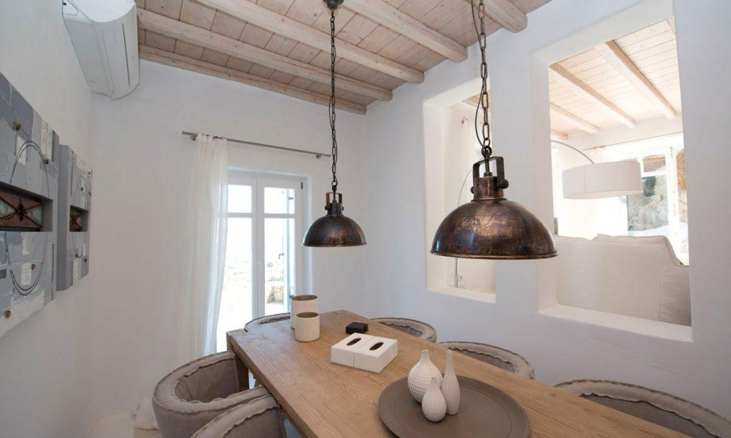 Villa Icarus I, Psarrou, Mykonos, Sofa, Lamps, Tables, Windows, Doors, Outdoor view, Fireplace, Dining room, Living room