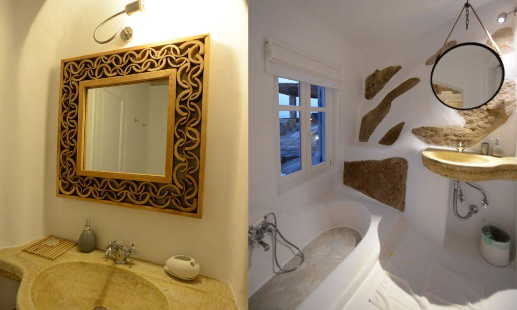 Villa Icarus I, Psarrou, Mykonos, Bathroom, Shower, Stairs, Mirror, Stone wall