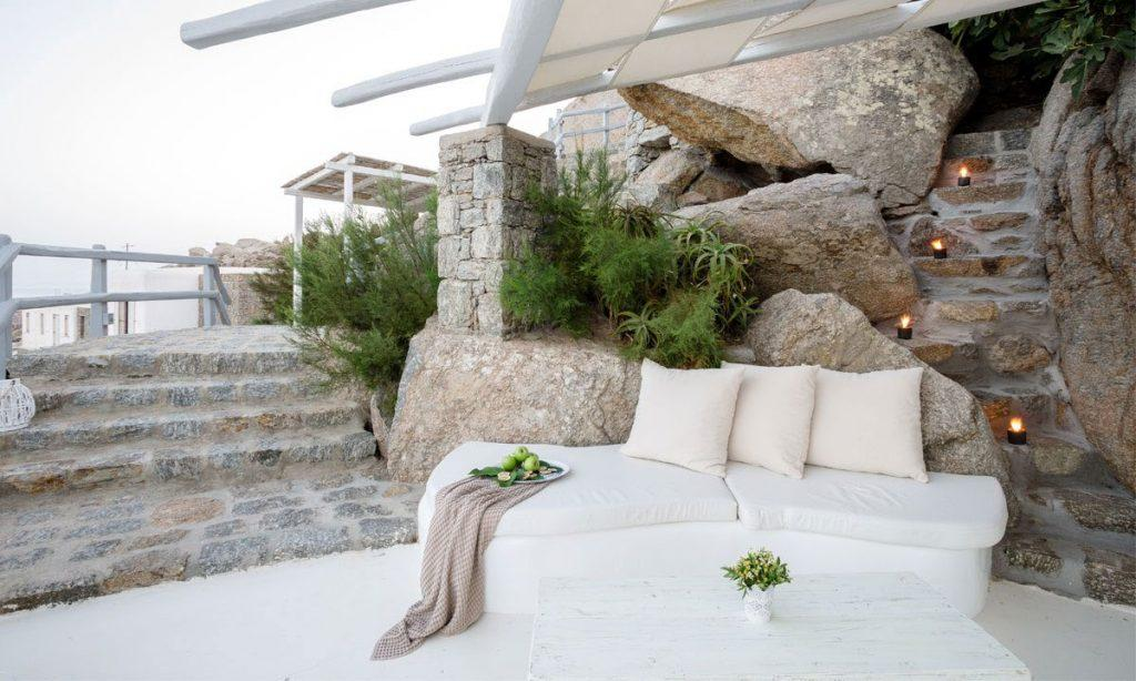 Villa Ida, Super Paradise, Mykonos, Pillows, Candels, Stones, Plants, Flowers, Stairs, Stone stairs, Sky